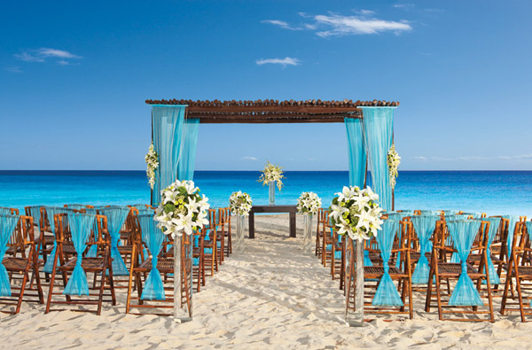 secrets capri riviera cancun beach wedding set up
