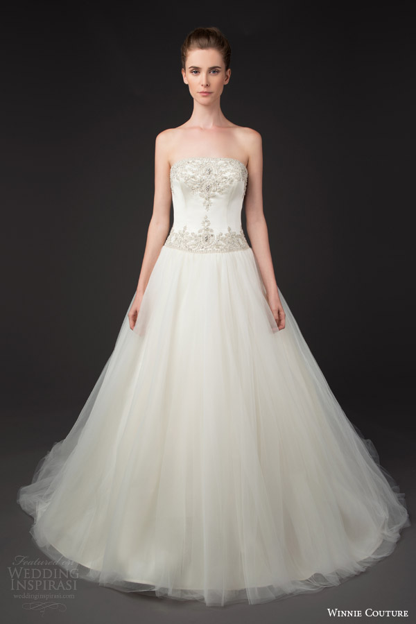 winnie couture 2014 blush label dinah strapless ball gown wedding dress