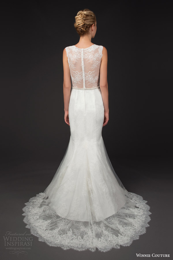 winnie couture 2014 blush label fran trumpet wedding dress straps queen anne neckline illusion back train