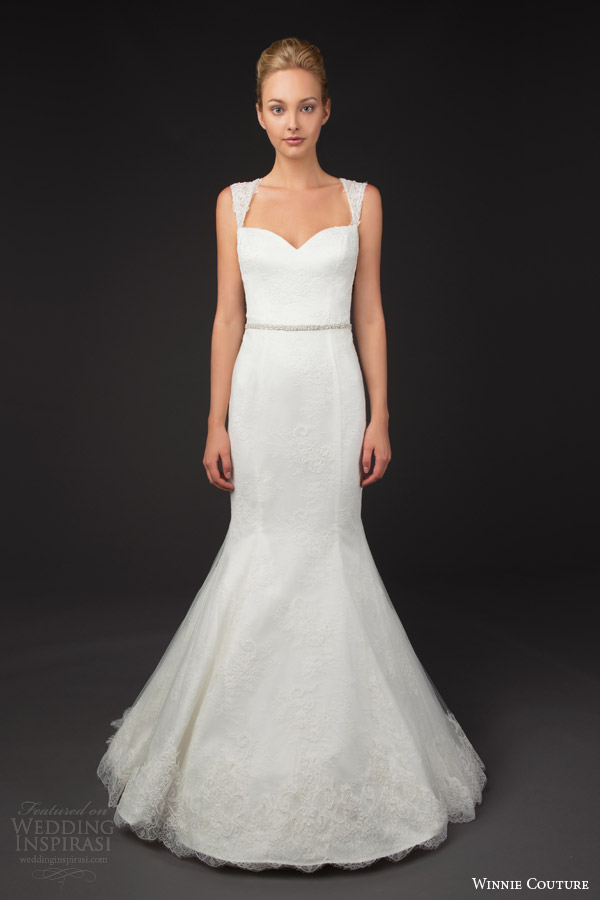 winnie couture 2014 blush label fran trumpet wedding dress straps queen anne neckline