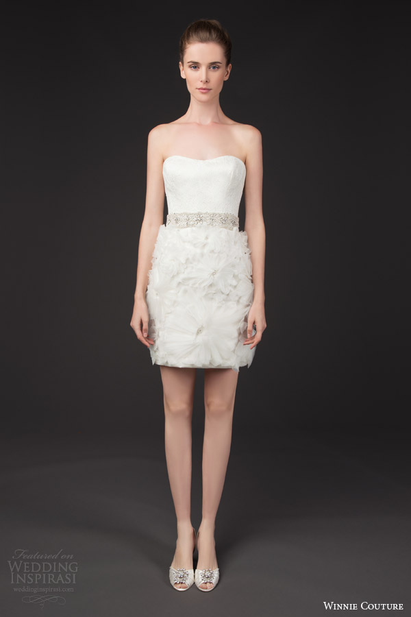 winnie couture bridal 2014 blush label daisy strapless short wedding dress