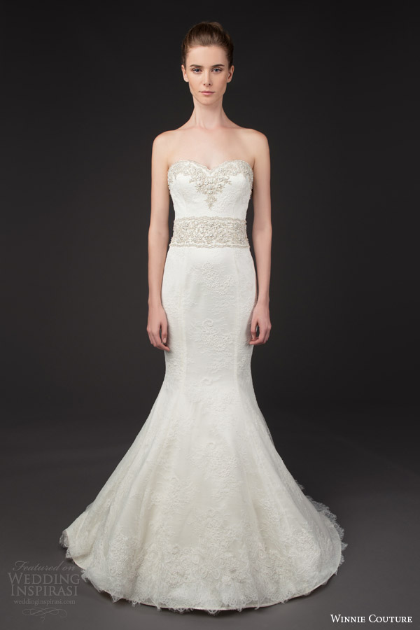 winnie couture bridal 2014 blush label marjorie strapless trumpet wedding dress