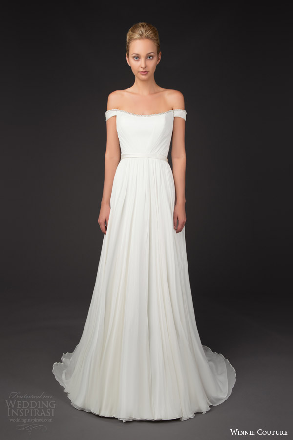 winnie couture bridal 2014 blush label trinity off the shoulder wedding dress