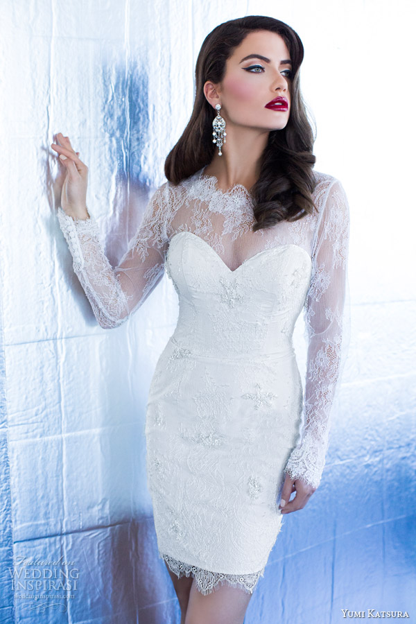 yumi katsura 2015 juno long sleeve lace wedding dress short