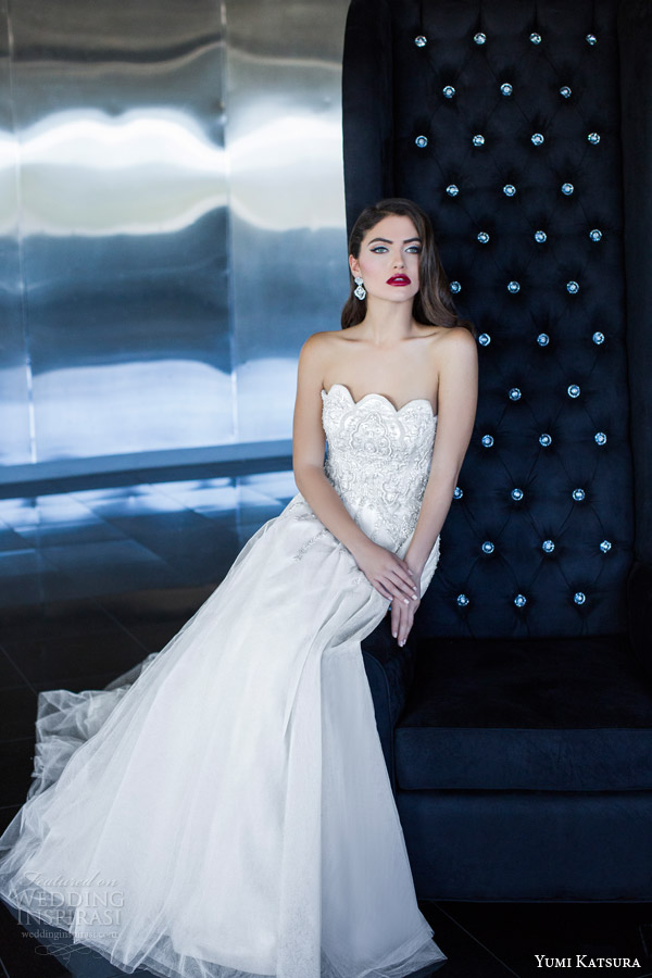 yumi katsura 2015 vesta strapless wedding dress scalloped neckline