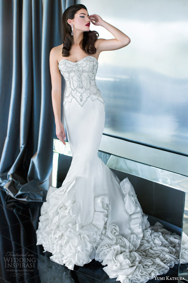 yumi katsura bridal 2015 fortuna strapless mermaid wedding dress