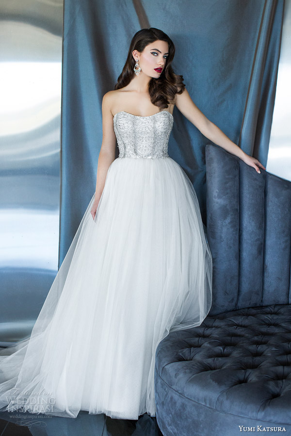 yumi katsura bridal 2015 hera strapless wedding dress silver beading