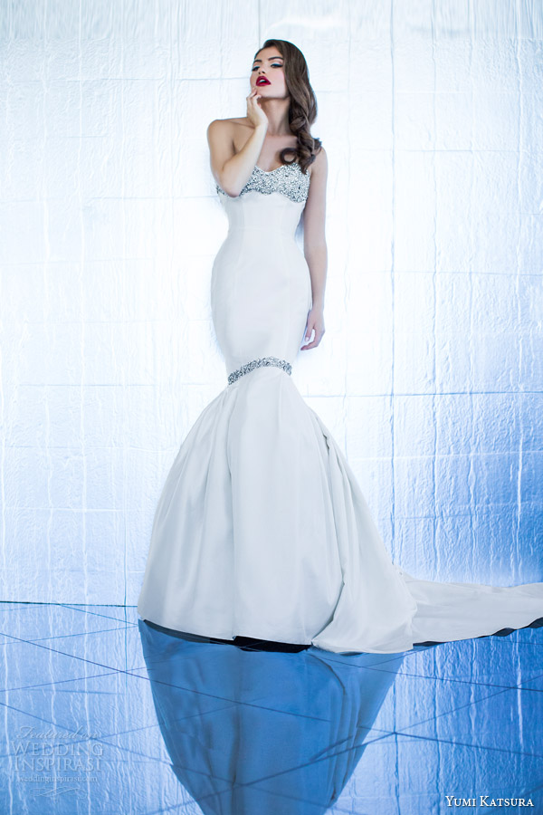 yumi katsura couture bridal 2015 demeter strapless mermaid wedding dress embellished
