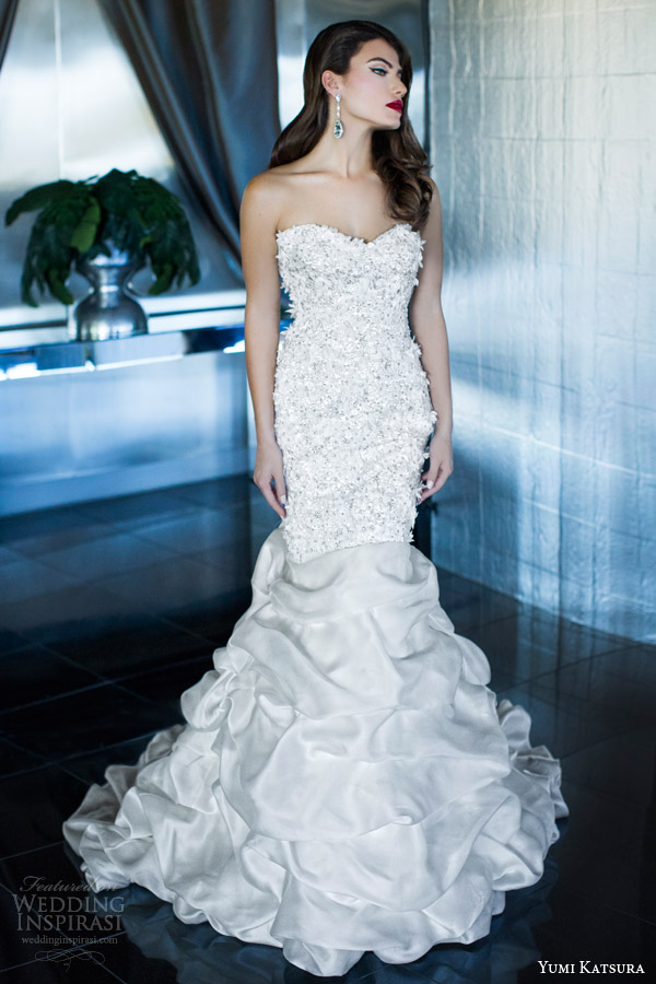 yumi katsura wedding dress 2015 rhea strapess mermaid gown sweetheart neckline