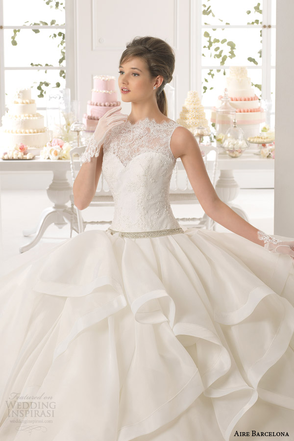 aire barcelona 2015 anabel sleeveless lace neckline ball gown