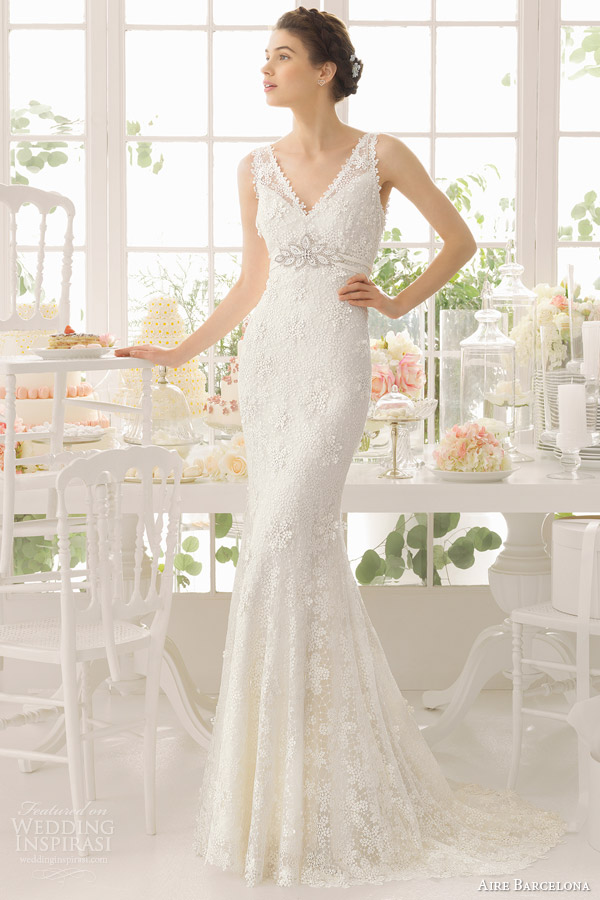 aire barcelona bridal 2015 adaggio sleeveless sheath wedding dress