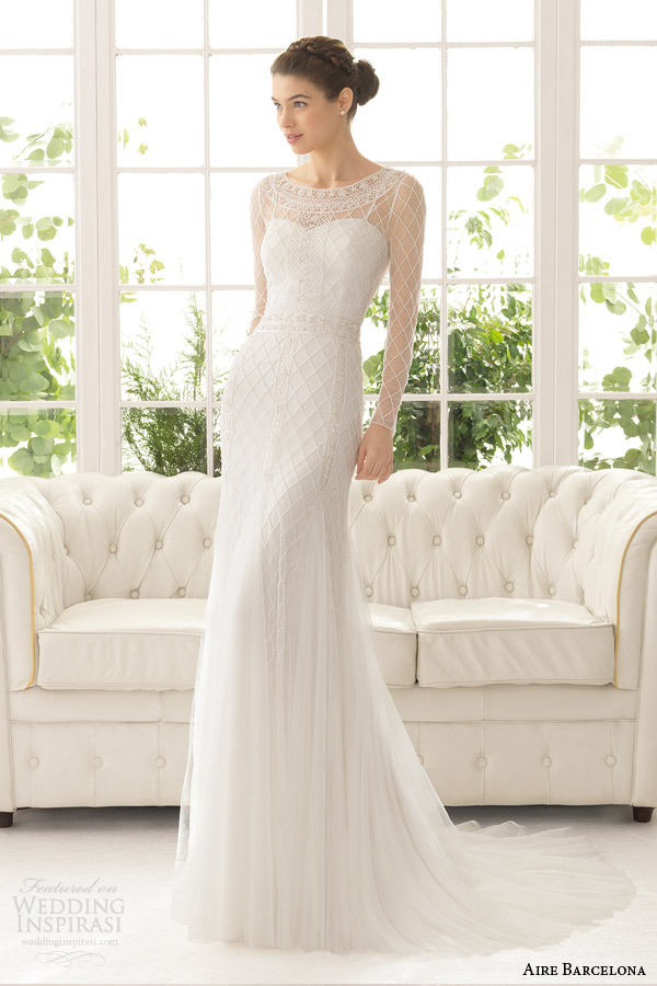 aire barcelona bridal 2015 aisha long sleeve sheath wedding dress