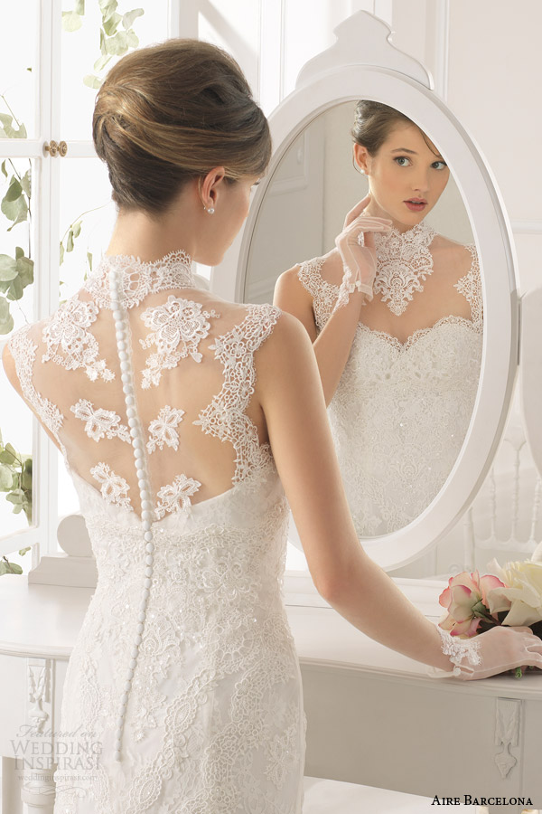 aire barcelona bridal 2015 amarile sleeveless illusion high neckline sheath wedding dress