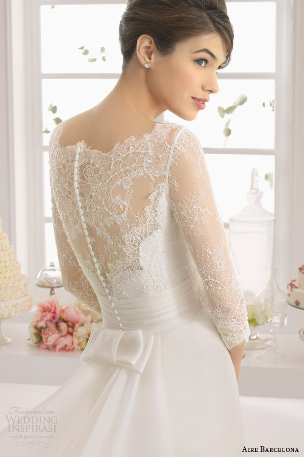 aire barcelona bridal 2015 antonela illusion long sleeve wedding dress back view close up