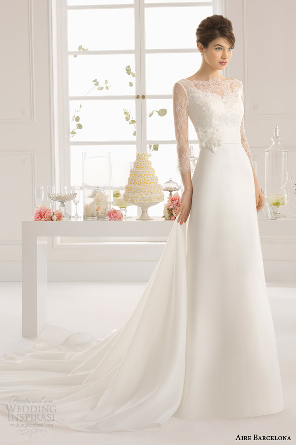 aire barcelona bridal 2015 antonela illusion long sleeve wedding dress full front view