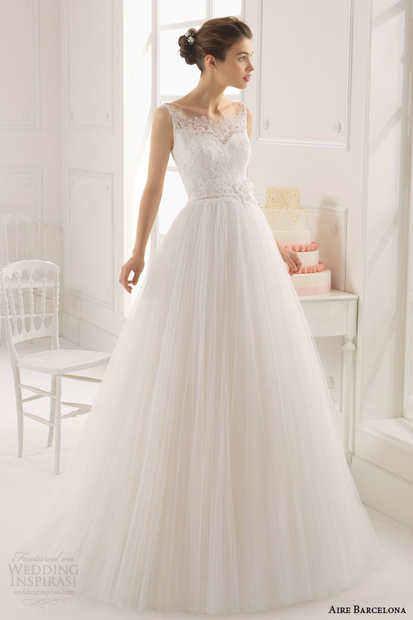 aire barcelona bridal 2015 astrid sleeveless romantic wedding dress