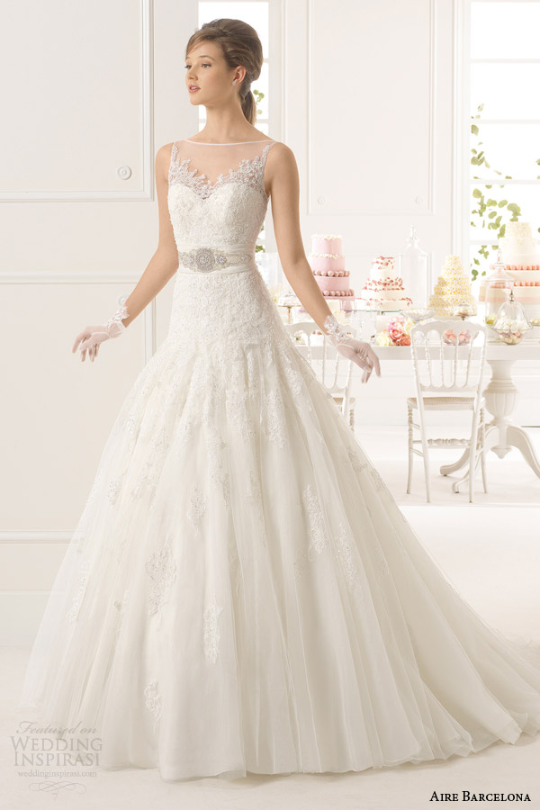 aire barcelona bridal 2015 azahar fit and flare wedding dress illusion sleeveless neckline