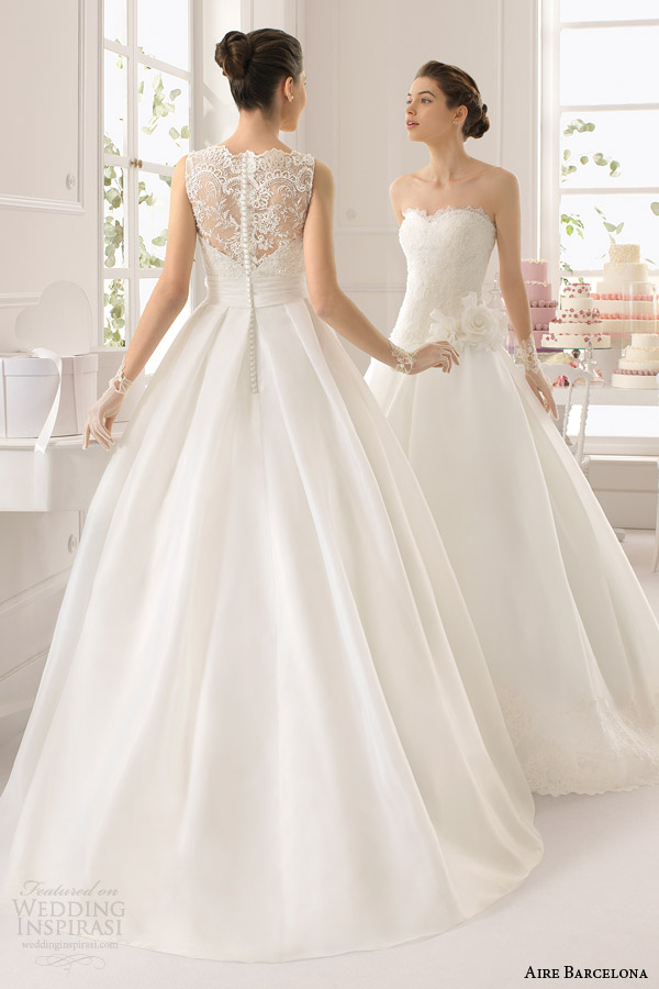 aire barcelona wedding dresses 2015 arca sleeveless ball gown lace bodice back view