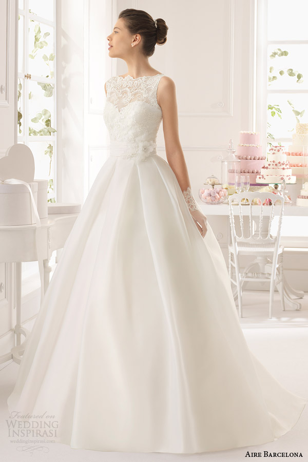 aire barcelona wedding dresses 2015 arca sleeveless ball gown lace bodice