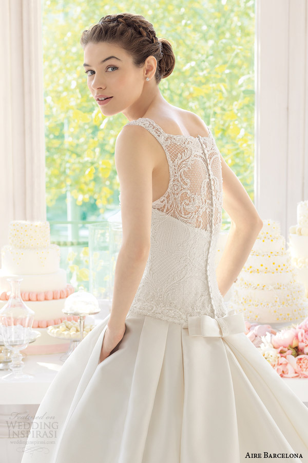 aire barcelona wedding dresses 2015 arena sleeveless drop waist ball gown pocket illusion back