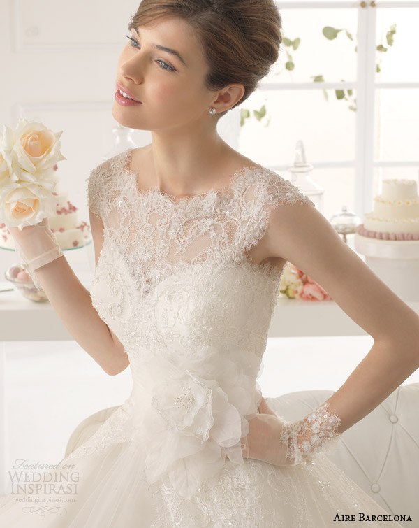 aire barcelona wedding dresses 2015 azzuro cap sleeve wedding dress illusion lace bodice