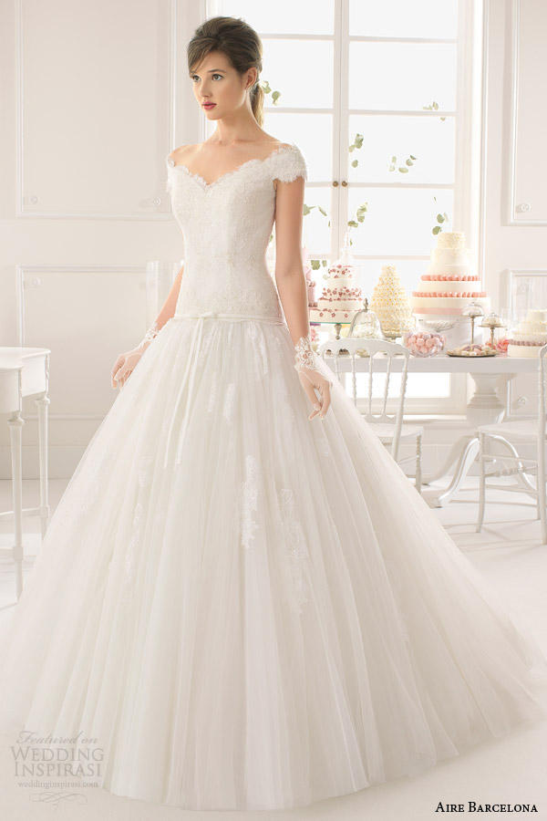 aire barcelona wedding dresses bridal 2015 asunta drop waist ball gown off shoulder sleeves