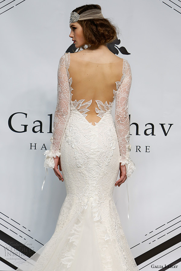 galia lahav fall 2015 bridal bustier long sleeves sheath fit flare low cut back wedding dress style norma back
