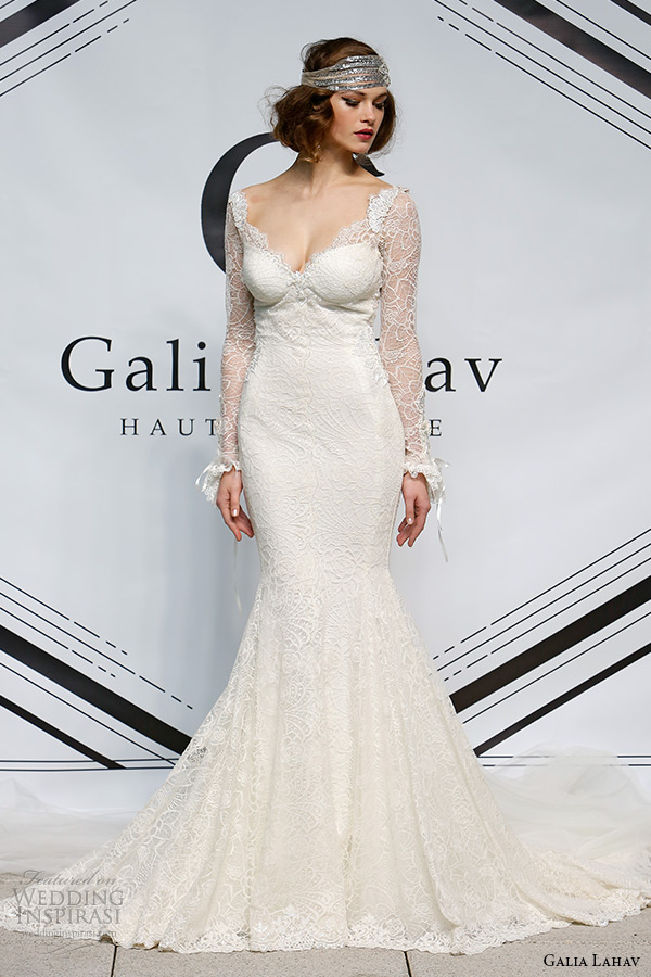 galia lahav fall 2015 bridal bustier long sleeves sheath fit flare low cut back wedding dress style norma