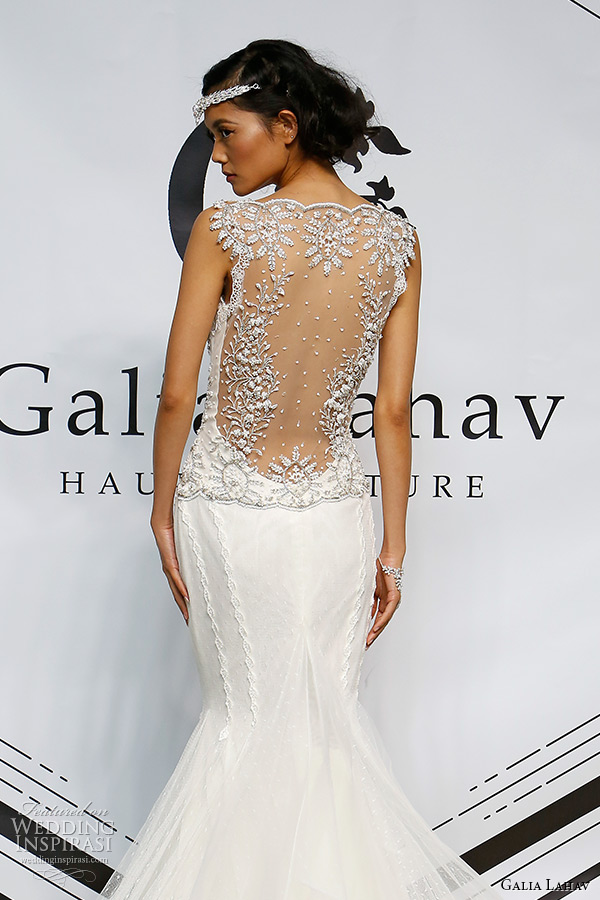galia lahav fall 2015 bridal bustier plunging neckline jeweled strap sheath fit flare low cut back wedding dress style tiffany back zoom