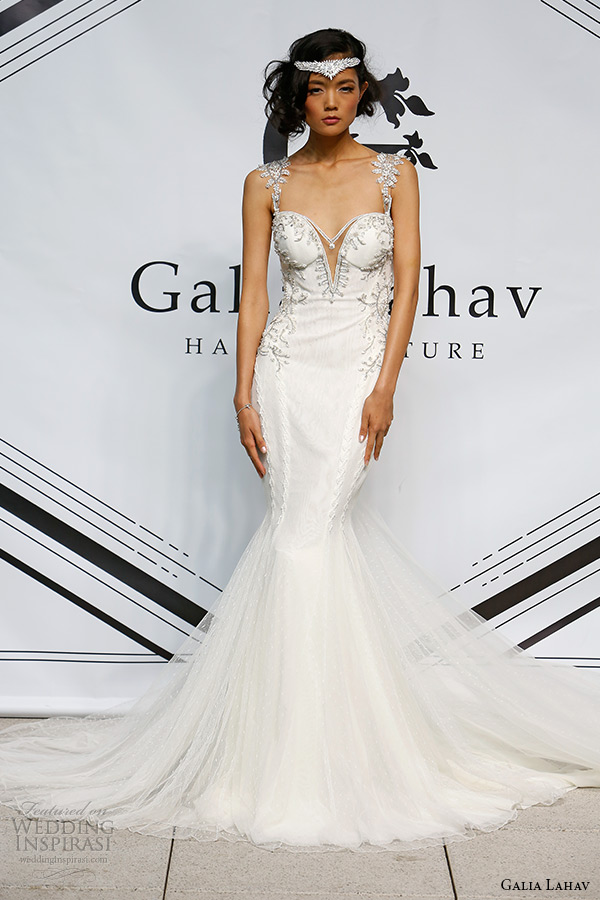 galia lahav fall 2015 bridal bustier plunging neckline jeweled strap sheath fit flare low cut back wedding dress style tiffany