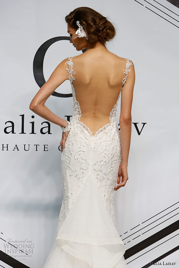 galia lahav fall 2015 bridal bustier sheer embroidery strap sheath fit flare low cut back wedding dress style eleanor back