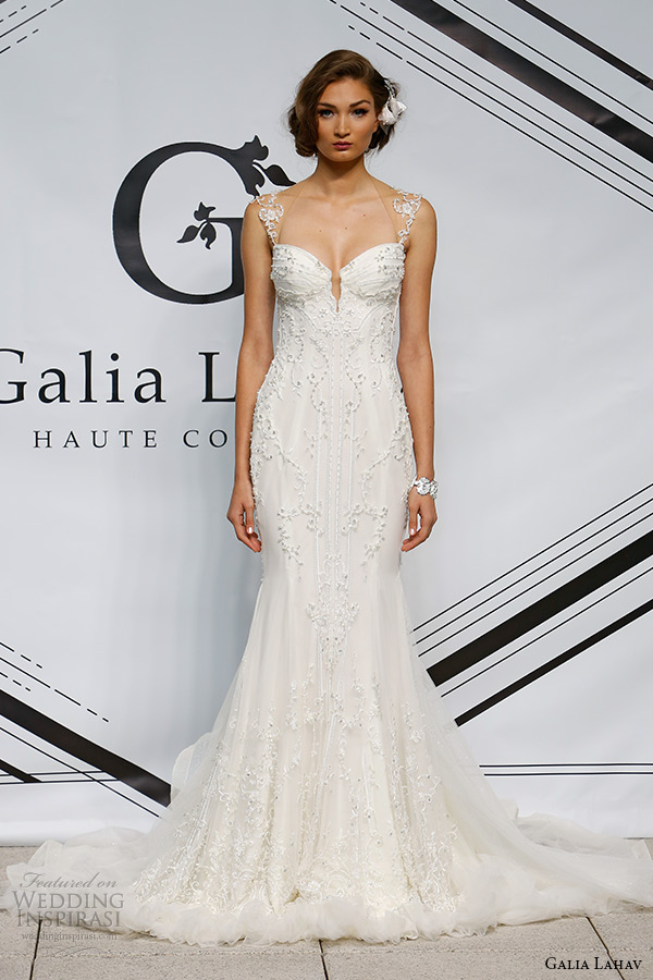 galia lahav fall 2015 bridal bustier sheer embroidery strap sheath fit flare low cut back wedding dress style eleanor