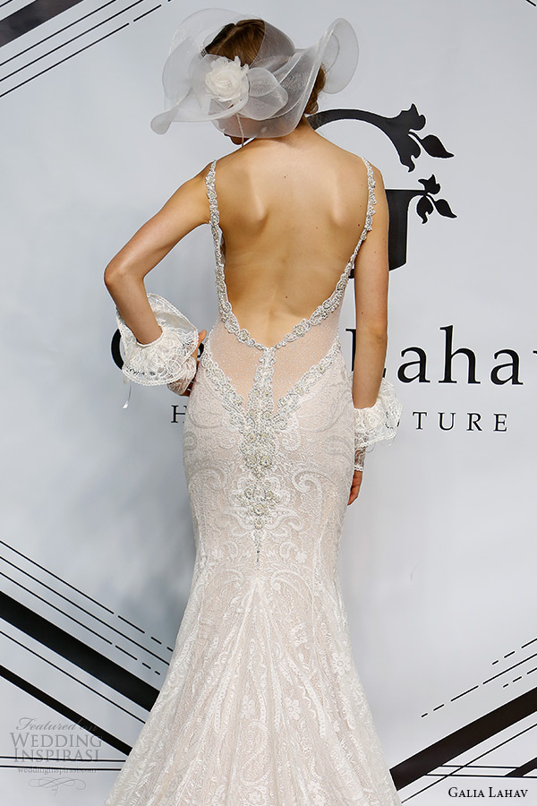 galia lahav fall 2015 bridal bustier spagetti strap sheath low cut back wedding dress style isadora back
