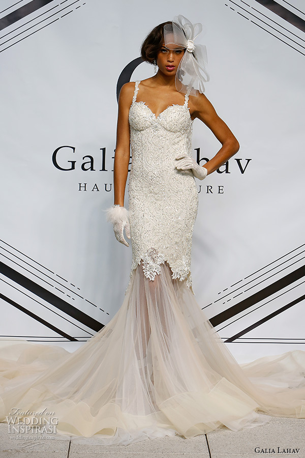 galia lahav fall 2015 bridal bustier strap sheath fit flare tulle train low cut back wedding dress style madison