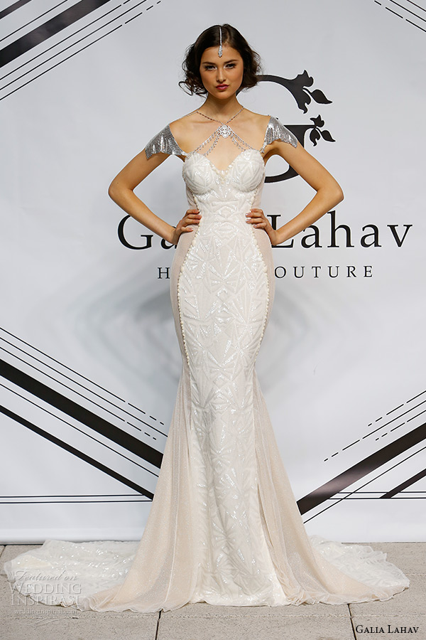 galia lahav fall 2015 bridal bustier sweetheart off shoulder  sheath fit flare wedding dress style lana