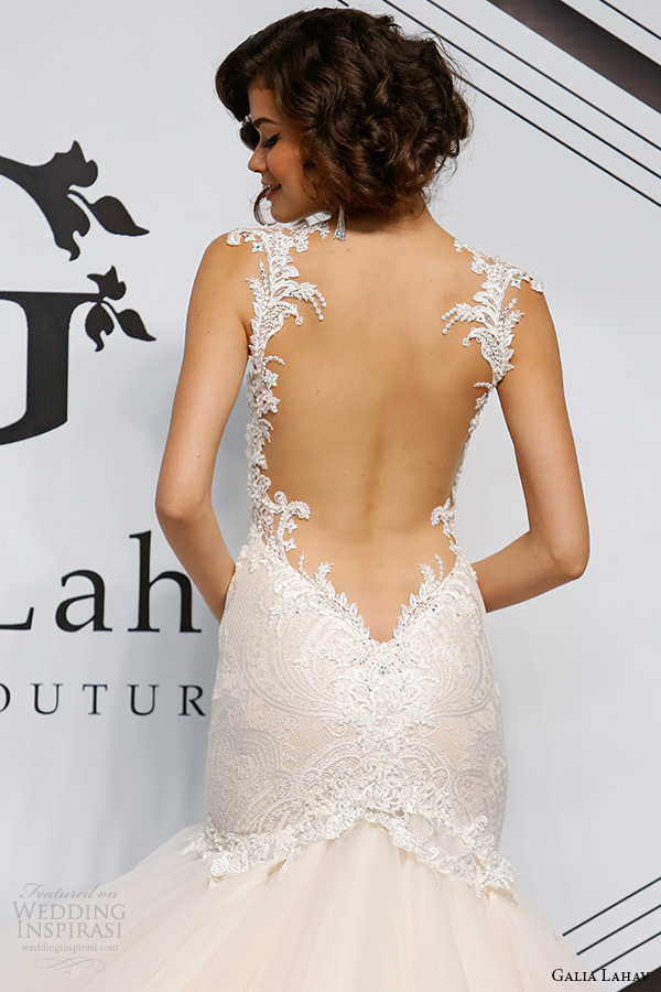 galia lahav fall 2015 bridal bustier sweetheart strap fit flare low cut back wedding dress style joyce back zoom