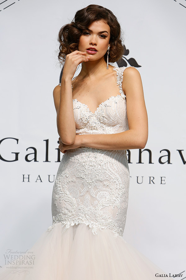 galia lahav fall 2015 bridal bustier sweetheart strap fit flare low cut back wedding dress style joyce zoom