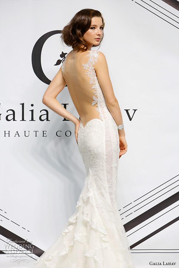 galia lahav fall 2015 bridal bustier sweetheart strap sheath wedding dress style daisy illusion low cut back