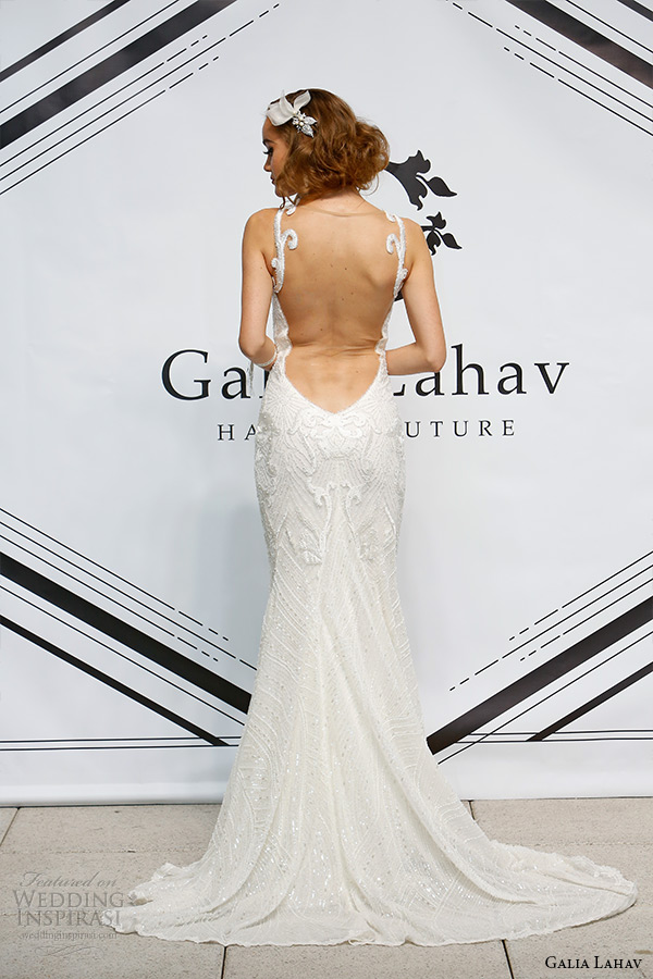 galia lahav fall 2015 bridal bustier sweetheart strap sheath wedding dress style katharina illusion low cut back