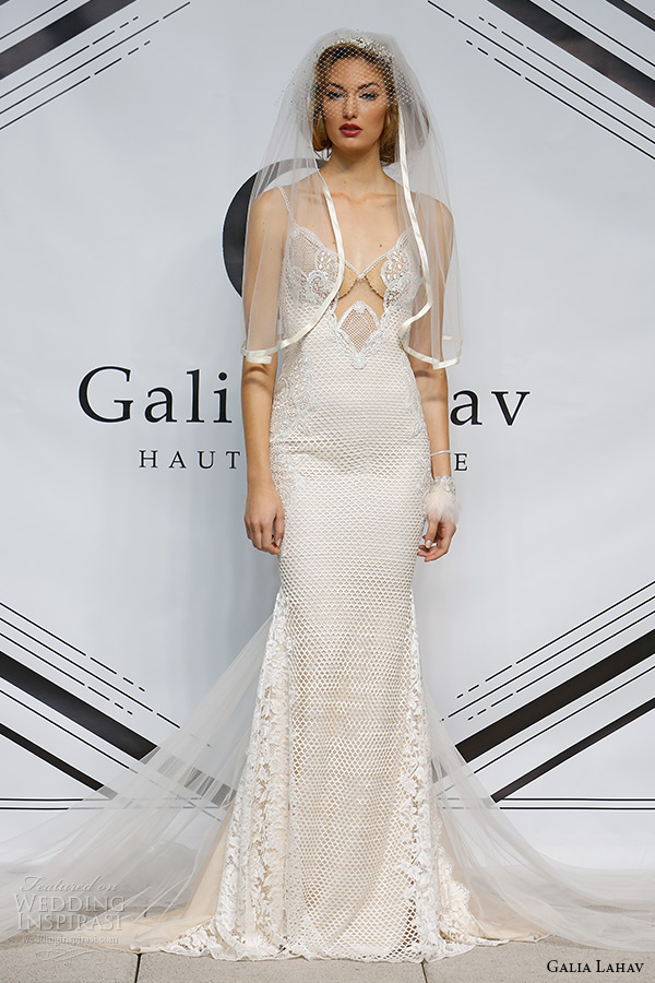 galia lahav fall 2015 bridal plunging neckline spagetti strap sheath low cut back wedding dress style audrey