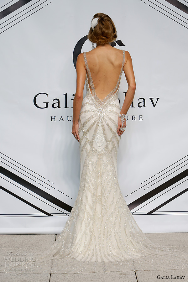galia lahav fall 2015 bridal plunging neckline spagetti strap sheath low cut back wedding dress style loretta back