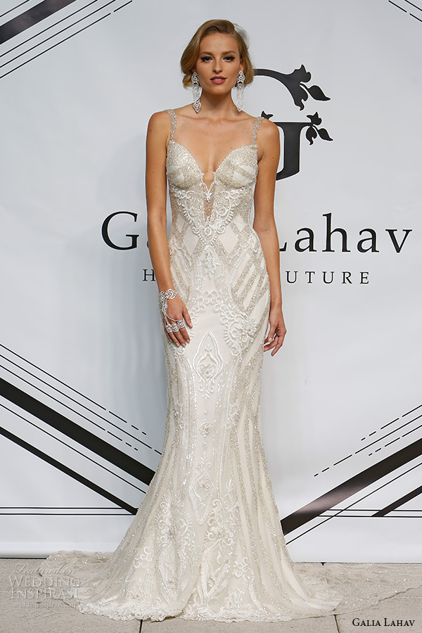 galia lahav fall 2015 bridal plunging neckline spagetti strap sheath low cut back wedding dress style loretta