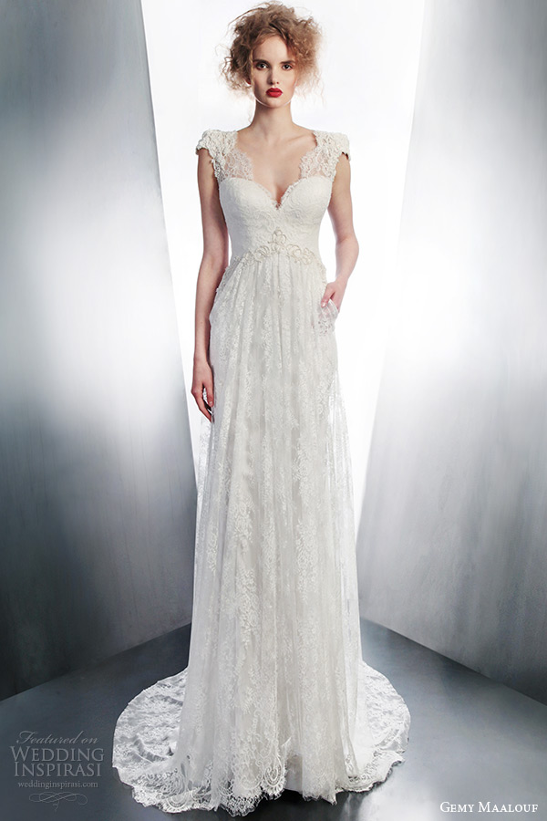 gemy maalouf 2015 bridal cap sleeve lace wedding dress scalloped v neckline pocket style 4140