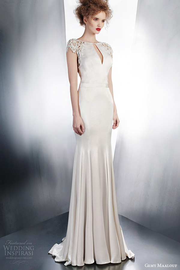 gemy maalouf 2015 bridal fall winter cap sleeve sheath wedding dress split neckline style 4137