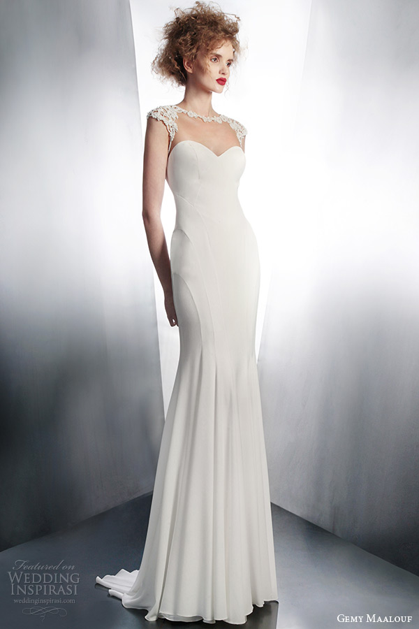 gemy maalouf 2015 bridal illusion cap sleeve sheath wedding dress style 4143