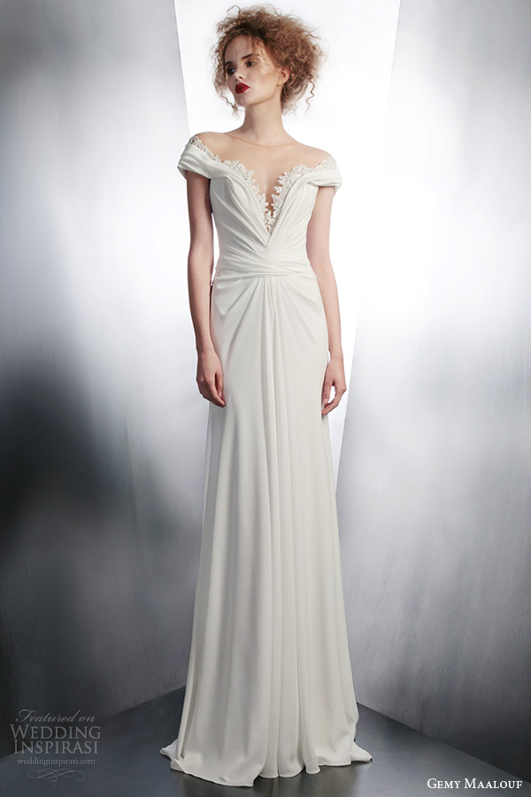 gemy maalouf 2015 bridal short sleeve illusion neckline wedding dress style 4146