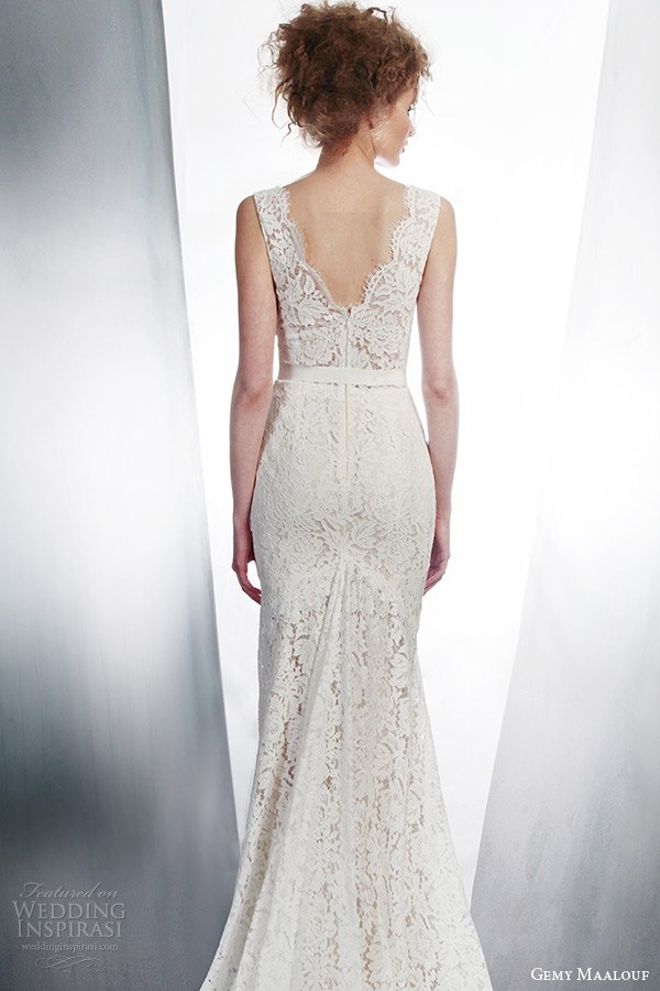gemy maalouf 2015 bridal sleeveless lace sheath wedding dress with pockets style 4139 back view