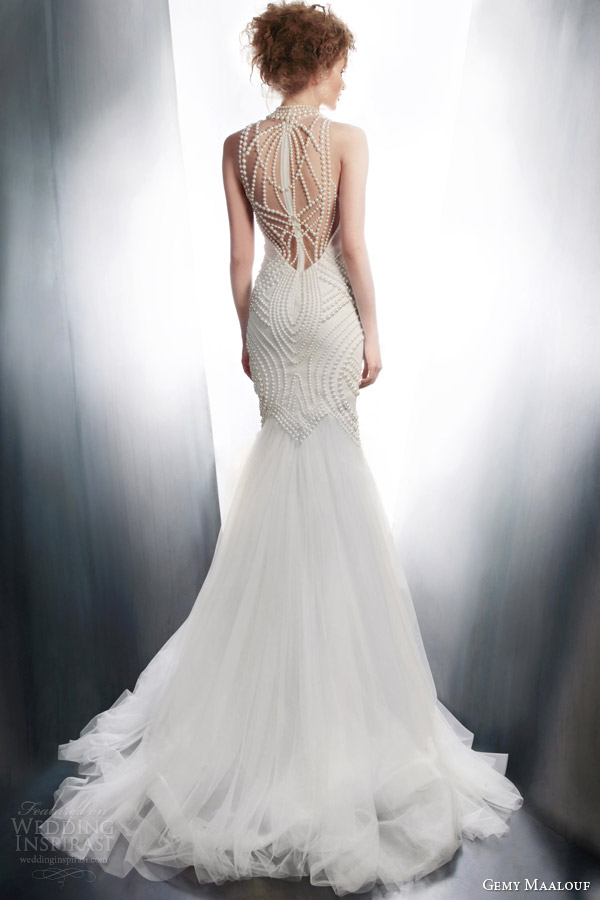 gemy maalouf 2015 bridal sleeveless sheath wedding dress art deco beading style 4195 back view train
