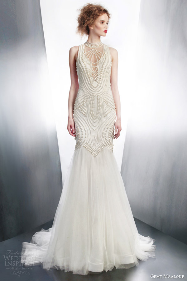 gemy maalouf 2015 bridal sleeveless sheath wedding dress art deco beading style 4195