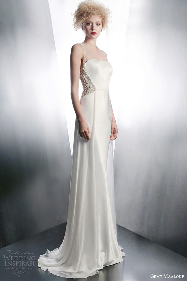 gemy maalouf 2015 bridal sleeveless wedding dress with embellished straps style 4133